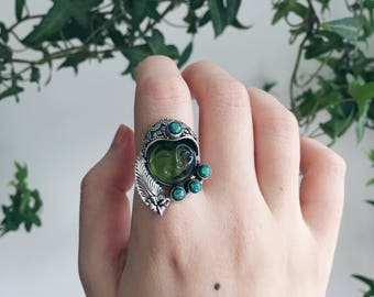 Peridot and Fire Opal Sterling Silver Ring | Size 7 | Healing Ring