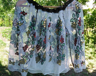 Vintage folk sequins embroidered Romanian traditional blouse handmade motifs, national costume, peasant blouse called IE, ethnic embroidery