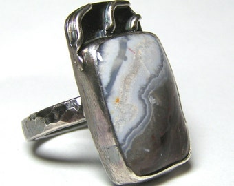 Wavy Crazy Lace Agate Gray and Brown Ring in Sterling Silver Size 7 OOAK