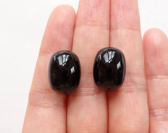 A grade Black Agate Onyx Half Top drilled Smooth 11x14/15 mm Drum Drops One Pair J6503