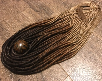 single or double ended dreadlocks dark brown to brown to medium blonde x10 or FULL SET synthetic hair extension OMBRE dreads 20-25""