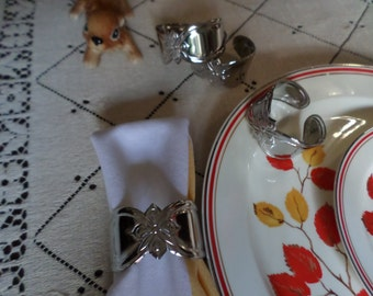 Four-Gorgeous Vintage Gorham Silver Stainless Napkin Rings/Holders-Holiday Serving/Table/Kitchen/Dining