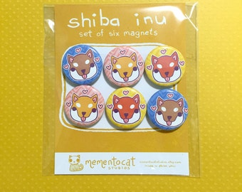 shiba inu magnets - set of 6 (redesigned for 2017!)
