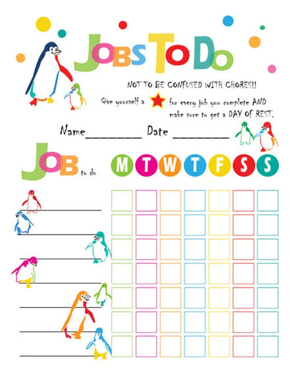 instant download chore chart for children family chore chart