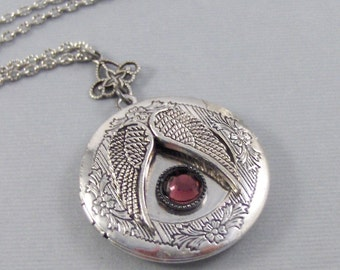 Angel's Ruby Locket,Angel Locket,Angel Necklace,Birthstone,Birthstone Necklace,Angel Wing,Guardian,Birthstone Locket. valleygirldesigns.