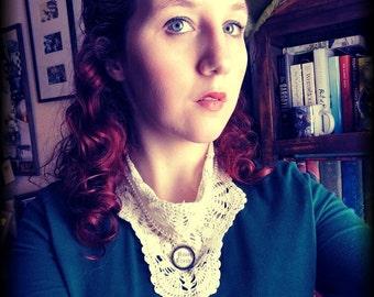 Victorian Jewelry, Steampunk Jewelry, Doily Bib Necklace with Glass Vial, Upcycled Jewelry, Wedding Jewelry, Valentine's day Jewelry