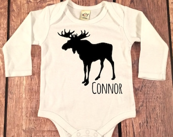 Baby Boy clothes Monogram Moose Name Shirt, Baby Boy Shower Gift,New Baby Boy Gift, Name Boy Gift, Baby Boy Name Shirt,Hospital outfit