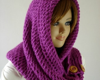 KNITTING PATTERN HOOD Scarf - LouLou Kiss Hooded Scarf - Hood pdf pattern instant download easy to follow pattern quick to knit hood pattern