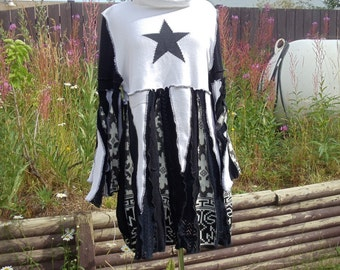 David Bowie Tribute Plus Sized Upcycled Sweater Dress
