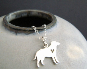 small silver Labrador retriever necklace. tiny sterling pet heart pendant. large big Lab breed charm. simple gift. animal love jewelry 5/8""
