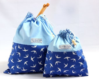 Birds knitting bag, blue swallows drawstring bag, cotton project bag, blue knitting bag fabric bag, fabric drawstring bag, UK knitting shop