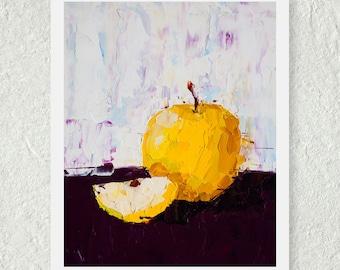 Apple Decor, Yellow Apple Print, Kitchen Art Print, Fine Art Print, Small Art Print, Palette Knife Art, Abstract Print, Original Art Print
