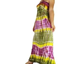Smocked tie dye off shoulder dress tie dye cotton  boho  tube dress maxi summer sundress comfy beach casual dress long skirt (434)