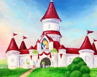 Mario Odyssey - Peach's Castle Painting - Print