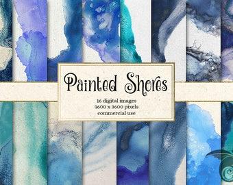 Painted Shores Digital Paper, blue and aqua ocean backgrounds, nautical digital paper, watercolor paint, ink textures, ocean scrapbook paper