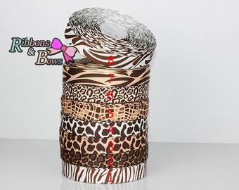 "7/8""  8 style Animal print,Cheetah,Jaguar,Tiger,Zebra,Giraffe,Leopard animal print ribbon"