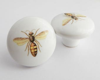 Bee Knob, Yellow White Bee Drawer Pulls, Insect Knobs, -  Choose your quantity - Made to order