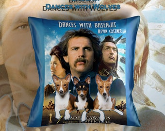 Basenji Art Pillow Case Throw Pillow - Dances with Wolves Movie Poster  Perfect DOG LOVER Gift for Her Gift for Him