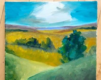 Original Oil Painting, Original Landscape Painting, California Landscape, Square Art, Modern Art, wrapped canvas, Original Art