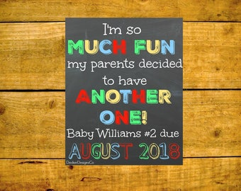 Baby Announcement, Pregnancy Reveal, Baby Reveal, Chalkboard Poster, Sibling Reveal, Second Baby, New Baby Sign, Pregnancy Sign