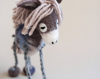 Felt Donkey - Chantal. Art Toy. Marionette Puppet Felted Stuffed plush soft toy Handmade nursery decor for kids. grey, pale pink, blue