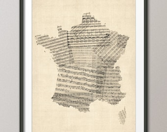 Map of France Old Sheet Music Map, Art Print (812)