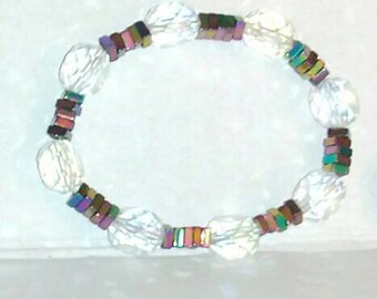 Beautiful hand-strung beaded bracelet, multi-colored, generous sizing