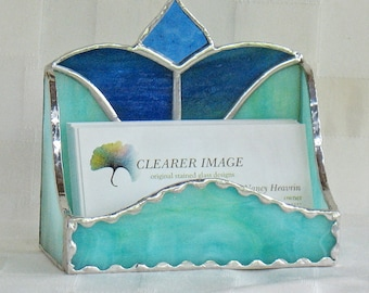 Business card holder stained glass classic car office business card holder in stained glass desk accessory office decor in green and blue colourmoves
