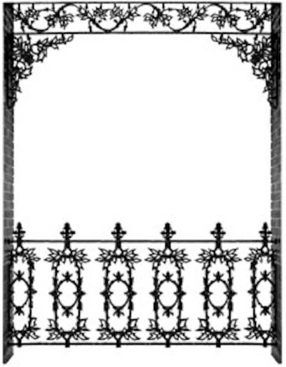wrought iron rail decorative ornate border french quarter new rh etsy com Louisiana Food Clip Art New Orleans Skyline Clip Art