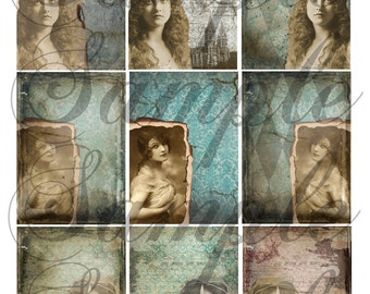 Vintage Grunge Beauties Collage Sheet---SALE---Instant Download--For Embellishment--Scrapbooking--Art