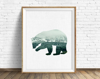 "bear, woodland animals art print, woodland nursery, large wall art, mountains, nature prints, instant download, printable art - ""Brown Bear"""