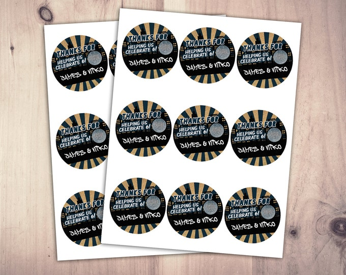 Digital file, sticker, label, Hip Hop, Fresh Prince, disco ball, birthday favor,, pop star, Graffiti, birthday, DJ, 90s party, 80s party