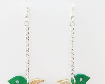 Green swallow leather - handmade earrings