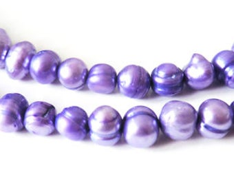 10 x 6-8 mm purple freshwater pearls