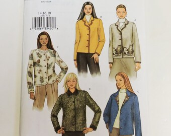Butterick 3573 Sewing Pattern, Misses Loose Fitting Jackets Size 14 16 18, With or Without Collar, Hip Length, Blazer, Uncut itsyourcountry