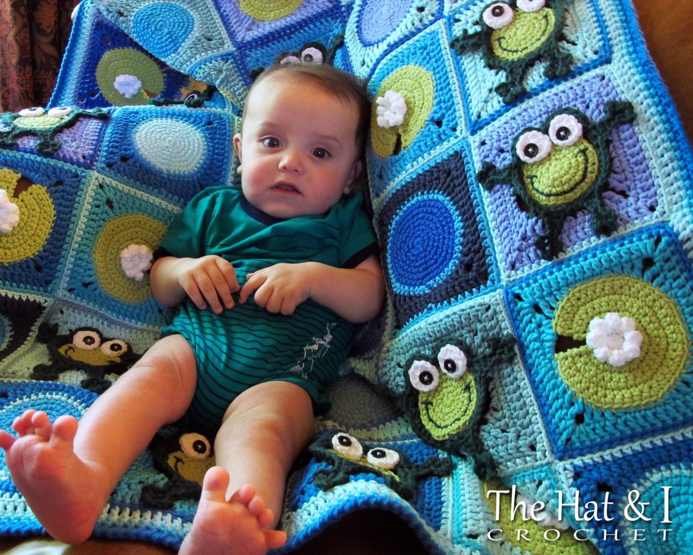 Crochet Blanket PATTERN Frog Frenzy crochet pattern for