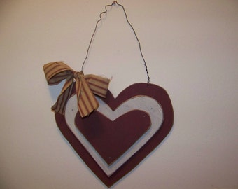 Primitive Wooden Stacked Hearts Valentine Door Greeter/Wall Hanging