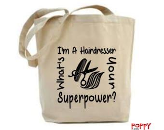 Hairdresser Bag, Gift For Hairdresser, Hairdressing Bag, Craft Bag, Tote Bag, Gift For Her, Shopping Bag, Market Bag, Cloth Bag