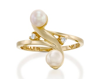 double pearl ring, pearl Diamond Ring, white pearl engagement ring, June birthstone ring, Solitaire Pearl Ring, 14k gold pearl ring
