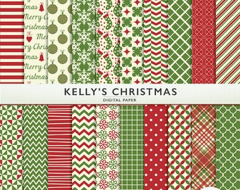 Kelly's Christmas Digital Paper - 20 sheets - Holiday - Scrapbooking Personal  Commercial  G7335
