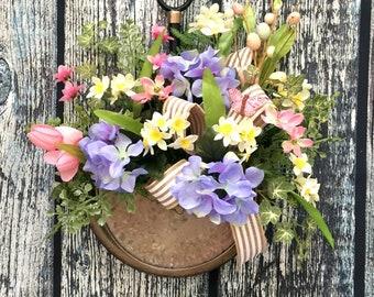 Spring Wreaths for Front Door, Front Door Wreaths, Front Door Decor, Farmhouse Door Wreaths, Blue Hydrangea, Galvenized Door Hanger
