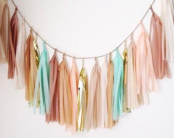 DESERT FLOWER - Tissue Paper Tassel Garland, Tissue Paper Tassels, Wedding, Tassel Garland, Party Banner, Tassels, Gold Tassels
