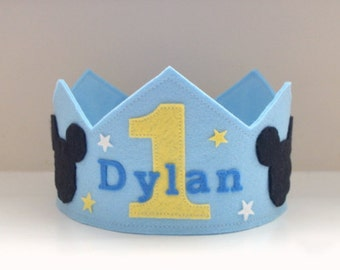 Wool Felt Crown Baby Mickey, Birthday Crown, Boy Crown, First Birthday, Personalized, Photo Prop, Smash Cake