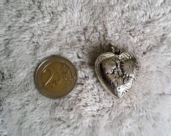 pretty heart silver metal semi matte