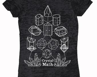Women's CRYSTAL MATH Screen Printed T-Shirt Crystal Power Sacred Geometry Minerology Tee