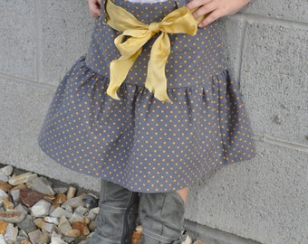 Ruffle Gray Corduroy Skirt with Mustard Belt and Mustard Polkadots