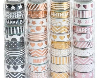 Pretty Metallic Washi Tape for paper crafts, Industrial Pattern Design Washi Tape, Luxury Stick Washi Tape by Artebene