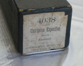 """Vintage player piano roll, Connorized Music Co., """"Charleston Exposition"""" 1920, a March"""