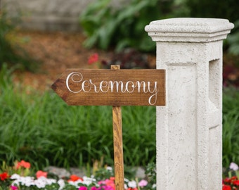 Ceremony Wood Wedding Directional Sign - WS-6