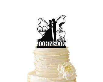 Mr. Mrs. with Bride and Groom - Fishing Poles With Date or Initials and Last Name  - Standard Acrylic - Wedding - Fishing Cake Topper - 107